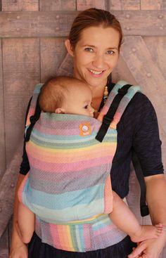 (Standard Size) Half Wrap Conversion Tula Baby Carrier - Girasol Double Rainbow Cream Weft (DW)