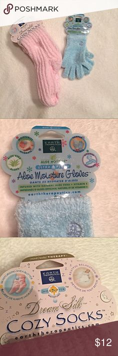 Shea butter/aloe infused socks and gloves Socks have Shea butter/peppermint blend and will last through approximately 15 washes. Non slip treads.  Gloves are infused with aloe and vitamin E and will last through approximately 20 washes. Earth Therapeutics Accessories