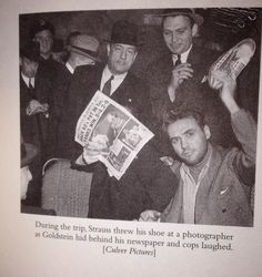 """Harry """"Pittsburgh Phil"""" Strauss on the train ride to sing sing. He threw his shoe at a photographer while Bugsy Goldstein hid behind a newspaper.  From: Tough Jews: Fathers, Sons, and Gangster Dreams by Rich Cohen"""