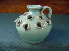 Cole 3-20-95 Sanford, North Carolina Art Pottery Flower Frog Mini Jug