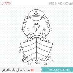 Ship's Captain, Sailor cat stamp - commercial use - digital stamp, line art… Cat Coloring Page, Colouring Pages, Stick Figure Drawing, Penguin Art, Painting Corner, Digi Stamps, Drawing For Kids, Cute Illustration, Doodle Art