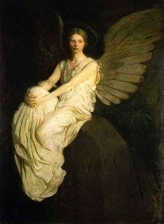 ♔ Fallen ♚   Abbott H. Thayer, Stevenson Memorial (1903).  Intended to commemorate the writer Robert Louis Stevenson. Model is Bessie Price.