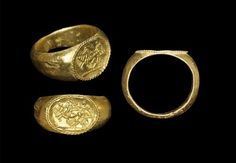 3rd-1st century BC. A finger ring of an image of a quadriga  chariot and driver.