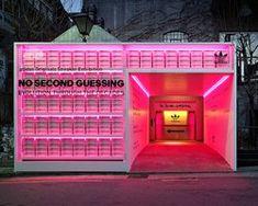 urbantainer's neon-clad media room showcases the evolution of adidas' iconic EQT Display Design, Booth Design, Facade Design, Architecture Design, Tienda Pop-up, Visual Merchandising, Shop Facade, Retail Store Design, Retail Stores