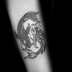 Guys Tattoos With Yin Yang Koi Fish Design On Forearm Wolf Tattoo Design, Forearm Tattoo Design, Forearm Tattoo Men, Koi Fish Tattoo Forearm, Circle Tattoos, Foot Tattoos, Sleeve Tattoos, Tattoo Ink, Tatoos