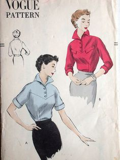 """Vogue Blouse Pattern No 7198 Vintage 1950s Size 16 Bust 34"""" Short or 3/4 Length Cuffed Sleeves Front Button Shaped Front Yoke Non Printed"""