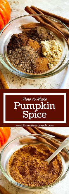 Learn how to make pumpkin spice blend! Less than 2 minutes will give you a blend that you can use in all of your fall baking, treats, and drinks. Cloves, cinnamon, allspice, ginger, and nutmeg provide the classic taste which you can easily customize to your liking. | How to Make Pumpkin Spice | www.threeolivesbranch.com