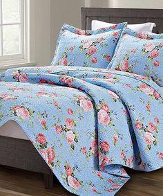 Look at this #zulilyfind! Blue Floral Spirit Linen® Quilt Set #zulilyfinds