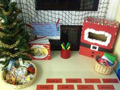 Writing area - Christmas card station and the jolly postman Christmas Writing, Preschool Christmas, Christmas Books, Christmas Activities, Christmas Themes, Kids Christmas, Christmas Crafts, Reception Class, Reception Ideas
