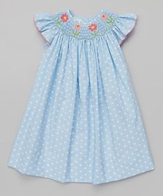 Love this Blue Polka Dot Flowers Bishop Dress - Infant, Toddler & Girls by Petite Palace on #zulily! #zulilyfinds