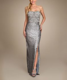 Another great find on #zulily! Silver Embellished Strapless Maxi Dress #zulilyfinds