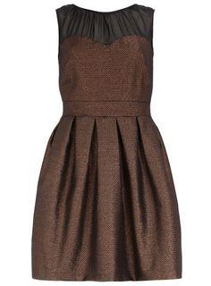 Bronze sheer yoke dress