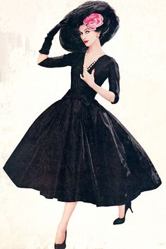 Dovima, c.1956. Women really strived to look their best in the 50s. Fashion was very feminine...at church on Sundays, funerals, weddings or just to go out to dinner...required gloves, hat, heels  hosiery, jewelry...and a handkerchief!
