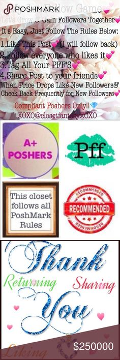 💕Plz Share Follow Game💕Like Tag Share Follow🛍 Thanks for stopping by💋My 1st Follow Game ever! Feel free to use this listing for comments! I didn't create this with just me in mind, but for ALL Compliant Poshers to gain more followers💝Let's support each other and grow together!! 😘 XOXO #POSH Other