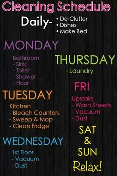 Weekly Cleaning Schedule, to always keep your weekends free of chores Diy Cleaning Products, Cleaning Solutions, Cleaning Hacks, Cleaning Schedules, Chore Schedule, Cleaning Checklist, Cleaning Routines, Chore List, Weekly Schedule