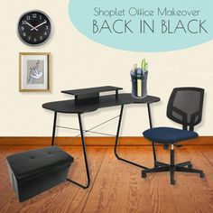 Shoplet #Office #Makeover #Collection 3 - Back in Black. Black is simple and sophisticated! Enter our giveaway to win your choice of 3 office collections.