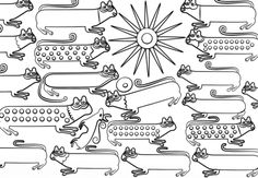 Huichol Art - Cats Dibujo para colorear