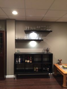 bar using Kallax unit and lack shelves - Site Title Kallax, Ikea Lack Shelves, Lack Shelf, Ikea Bar, Basement Bar Plans, Basement Bar Designs, Basement Ideas, Diy Bar, Trendy Home