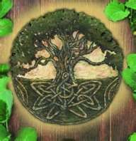 *Yggdrasil is usually depicted as a huge ash tree with leaves that extend into the heavens and three roots delving into the lower worlds.The dragon Níðhöggr lives among its roots, an eagle among its branches, and four stags live around it's base and eat the leaves.