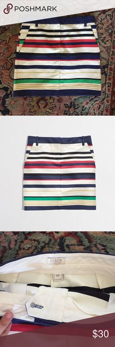 """J. Crew Striped Mini Get that preppy look easily! Worn once with no issues. Cotton/nylon. Sits at waist. 15.5"""" long and 14.5"""" waist  Zip fly. Slant pockets. J. Crew Factory Skirts Mini"""