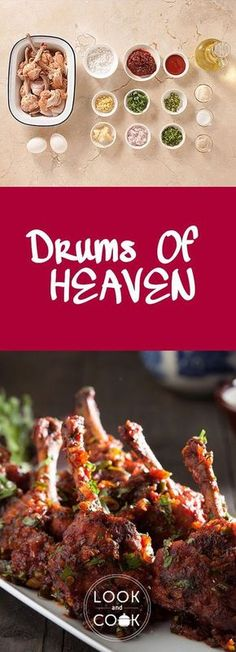 DRUMS OF HEAVEN – A slight twist to your ordinary chicken lollipop, this chicken wings fried and tossed in schezwan sauce is a famous appetizer. The sauce make the chicken more succulent. Cooking Chicken Wings, Fried Chicken Wings, Chicken Appetizers, Appetizer Recipes, Schezwan Sauce, Schezwan Chicken, Chicken Lollipops, Look And Cook, Mop Sauce