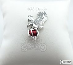 Eagle Pearl Cage Necklace Silver Plated Eagle Bird Locket Charm Holds Beads Pearls Gems Crystal Accents