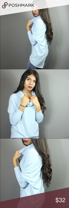 🆕Beautiful powder blue cowl neck long sleeve 💙 Sush a soft long sleeve blouse. A great piece to have as we transition into much cooler weather. It's a long sleeve shirt with a cowl neck. I love cowl necks because it adds that a slight sophistication to the blouse but because the neck is loose you are able to lay it how you choose. Made out of 48% rayon 48% polyester & spandex materials 💙 Dorimas Closet Sweaters Cowl & Turtlenecks