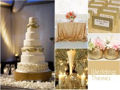 Add a dash of elegance to any wedding with a glittering combination of gold and white.#WeddingThemes