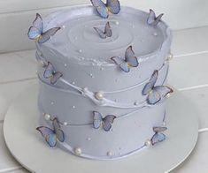Pretty Birthday Cakes, Pretty Cakes, Beautiful Cakes, Amazing Cakes, Pastel Cakes, Purple Cakes, Mini Cakes, Cupcake Cakes, Simple Cake Designs