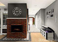 Kominek obłożony płytką ceglaną Home Decor, Decoration Home, Room Decor, Interior Design, Home Interiors, Interior Decorating