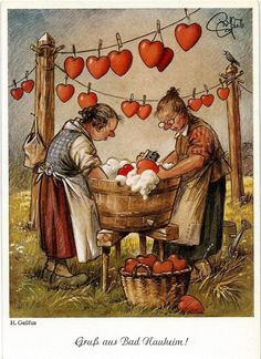 Sweet vintage art of two ladies washing hearts Vintage Cards, Vintage Postcards, Vintage Images, Art And Illustration, Art Fantaisiste, Art Mignon, Jolie Photo, Vintage Valentines, Heart Art