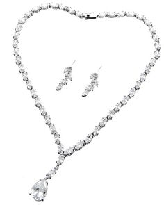 Rhodiumized / Clear Cubic Zirconia / Lead&nickel Compliant / Delicate / Necklace & Post Earring Set