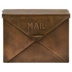 Perfect for stowing letters and notes in your foyer, this galvanized iron mailbox showcases an envelope silhouette and copper finish.  Pr...
