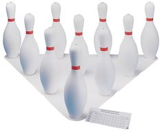 The Champion Sports Bowling Pin Set is fun for everyone to bowl safely indoors or outdoors. This set includes ten weighted plastic bowling pins, a set up sheet, and score pad. Bowling Pins, Bowling Ball, Bowling Pictures, Bowling Equipment, Games For Men, Backyard Birthday Parties, Champion Sports, Weight Set, Plastic Sheets