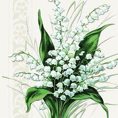GYÖNYGYVIRÁG SZALVÉTA fehér-zöld 33x33cm