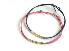 Craft Tutorial: Leather Cord & Beads Bracelets - Adjustable, easy, pretty! #Leather #TubeBeads #Stacked