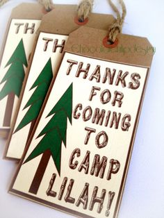 Perfect for a camping birthday party!  CAMPOUT Party Favor Thank You gift tags by by Chocolatetulipdesign
