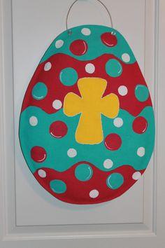 Bright (Pink & Turquoise) Funky Burlap Easter Egg with Yellow Cross in Center Door Hanger.