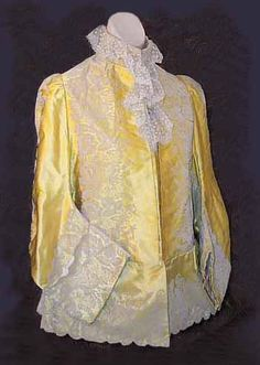 House of Rouff satin mantle trimmed with lace, 1880s, from the Vintage Textile archives.
