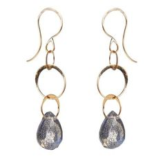 Melissa Joy Manning's recycled gold and natural labradorite earrings are perfect for bridesmaids.  at Greenwich Jewelers, $195