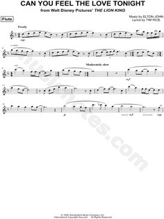 Can You Feel the Love Tonight - Flute From The Lion King - Digital Sheet Music