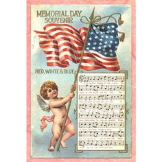 Vintage Greeting Card, free piece of American Memorial Day History a... ❤ liked on Polyvore featuring home, home decor and stationery