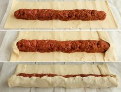 Bladerdeeg gehaktstaaf - Homemade by Joke Dutch Recipes, Pastry Recipes, Meat Recipes, Good Food, Yummy Food, Food Crush, Party Food And Drinks, Easy Snacks, High Tea
