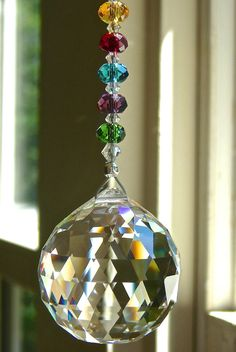 Swarovski Crystal Suncatcher with Colorful Strand, 30mm Ball, Entirely Swarovski, Window Ornament - Choice of  Ball in 11 Colors - LOLA LONG on Etsy, $35.00