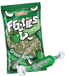 Tootsie Roll Frooties one of the last American made penny candies. These apple flavored, soft and chewy candies taste like fresh fruit. Each bag is filled with 360 individually wrapped pieces. Nut, gluten and peanut free, contains soy and milk. Fresh Green, Fresh Fruit, Chewy Candy, Bulk Candy, Candy Apples, Candies, Milk, Gluten Free, Snacks
