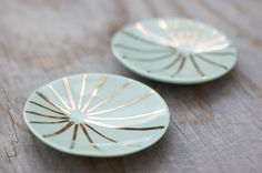 Porcelain Ring Dish with Gold Burst Pattern