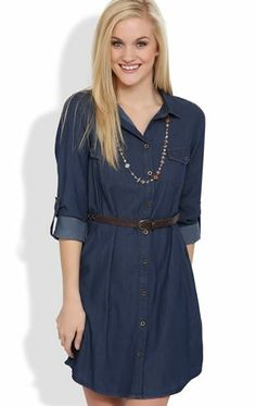 Deb Shops Long Sleeve #Shirt #Dress with Button Front and Braided Belt $26.17