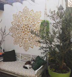 Wall stencil holy mandala Made in Amsterdam – Mandala stencils Fairy Garden Doors, Large Wall Stencil, Garden Mural, Mandala Stencils, Stenciled Floor, Small Garden Design, Unique Gardens, Stencil Designs, Outdoor Walls