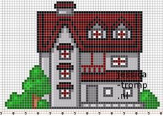 108 Free cross stitch designs houses stitchingcharts borduren gratis borduurpatronen huizen huisjes kruissteekpatronen Pixel Crochet Blanket, Crochet Squares, Cross Stitch House, Cross Stitch Boards, Cross Stitching, Cross Stitch Embroidery, Cross Stitch Patterns, Hama Beads Patterns, Peyote Beading