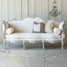 Idea for my French sofa ~ The Bella Cottage French Country Living Room, Classic Living Room, Living Room White, Formal Living Rooms, Living Room Decor, Bedroom Decor, Deco Furniture, Sofa Furniture, Furniture Makeover